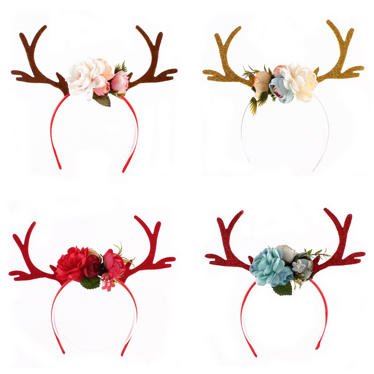 Tinksky 4pcs Deer Antler Headband with Flowers Blossom Novelty Party Hair Band Head Band Christmas Fancy Dress Costumes Accessory