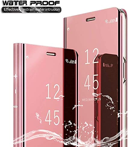 Cowen Pour Samsung Galaxy A20e Coque Etui Housse Protection Intégrale Anti Choc Technologie De Galvanoplastie Pliable Transparente Standing View Mirror Cover Or Rose Amazon Fr High Tech