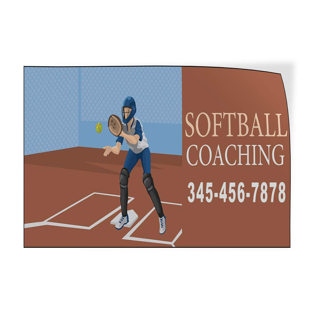 Custom Door Decals Vinyl Stickers Multiple Sizes Softball Coaching Phone Number Brown Business Softball Outdoor Luggage /& Bumper Stickers for Cars Brown 40X26Inches Set of 5