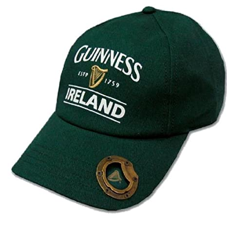 24bf5362c9d Amazon.com  Bottle Green Guinness Baseball Cap With Bottle Opener And  Ireland Est. 1759 Text  Sports   Outdoors