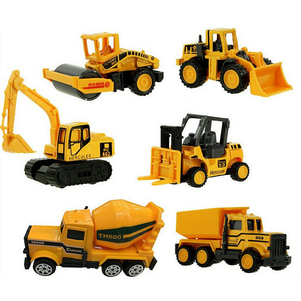 XADP 6 Pcs Play Vehicles Construction Vehicle Truck Cars Toys Set,Friction Powered Push Engineering Vehicles Assorted Construction for Boys and Girls