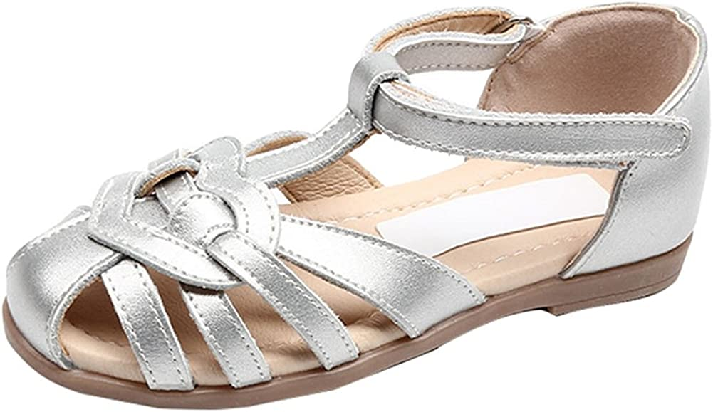 Oncefirst Girls Vintage Leather Woven Cage Flat Sandals
