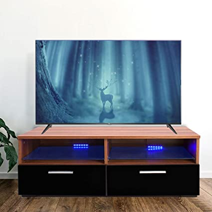 Joolihome Black Gloss&Matte TV Stand Cabinet with LED Media Console Table  42-Inch TV Wood&Glass Storage Organizer with 2 Drawer 2 Shelf TV Unit Flat  ...