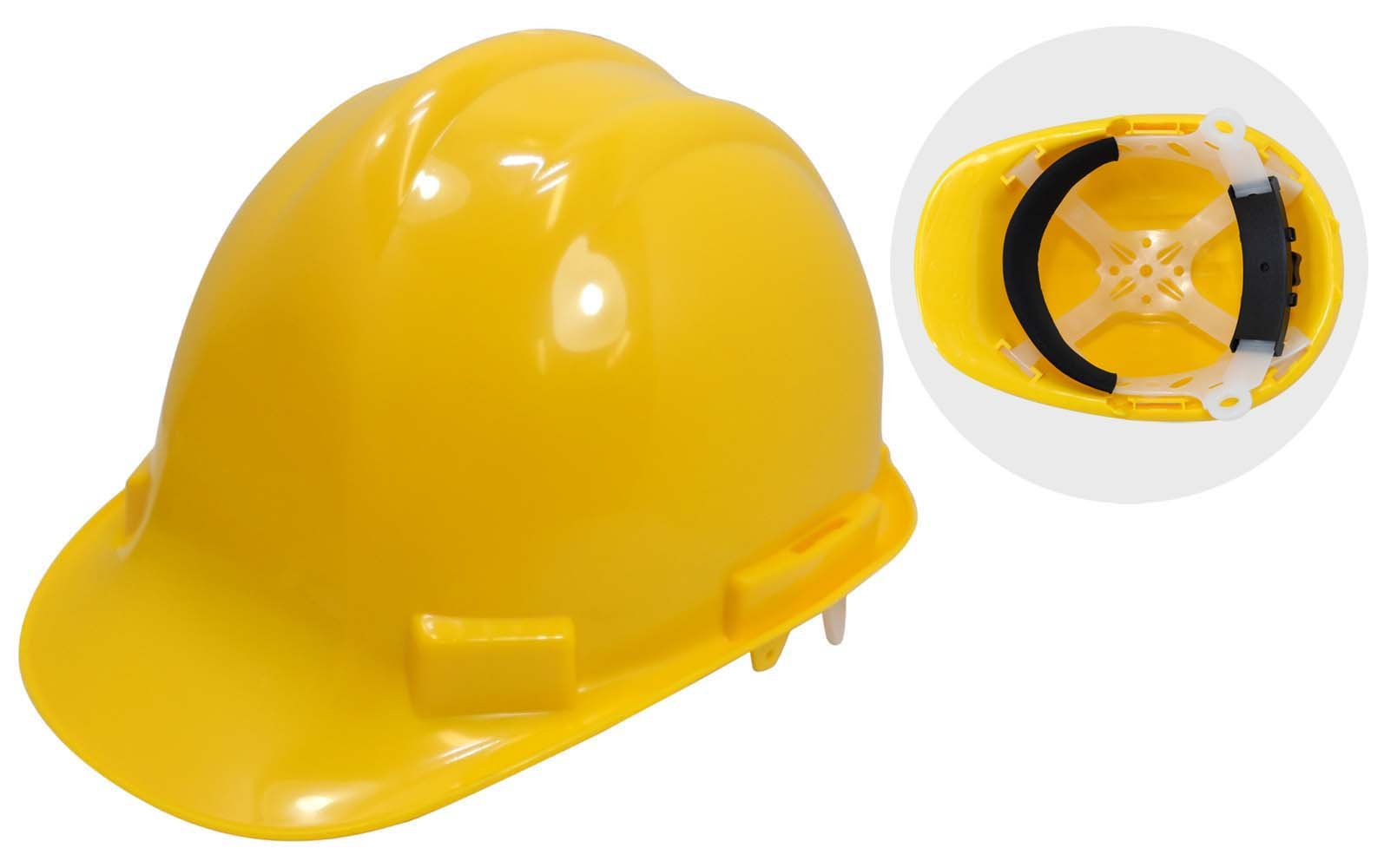 ToolUSA Osha Approved Adult Sized Yellow Safety Hard Hat with Built-In Adjustable Liner: SF-97704