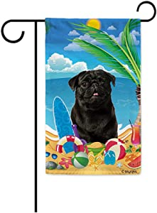 BAGEYOU Hello Summer My Love Dog Black Pug Dog on The Beach Garden Flag Children Toys Lemon Juice Watermelon Flip Flop Tropical Palm Decor Banner for Outside 12.5X18 Inch Print Double Sided