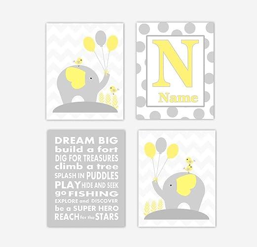 Amazon.com: Baby Boy Nursery Wall Art Yellow Gray Elephants ...