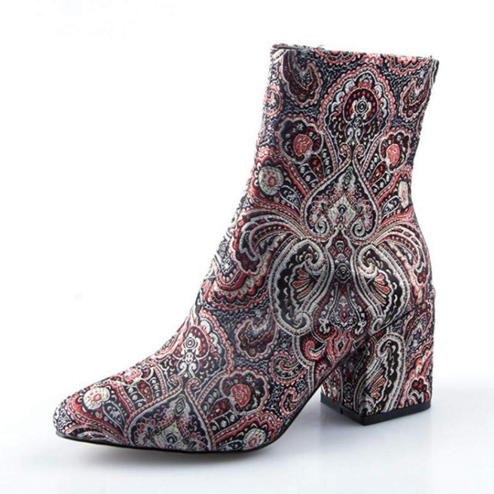 PINGXIANNV Damen High Heel Stiefel Stickerei Zipper Print Runde Kappe Frauen Schuhe Retro Elegante Schuhe Frau Schuhe