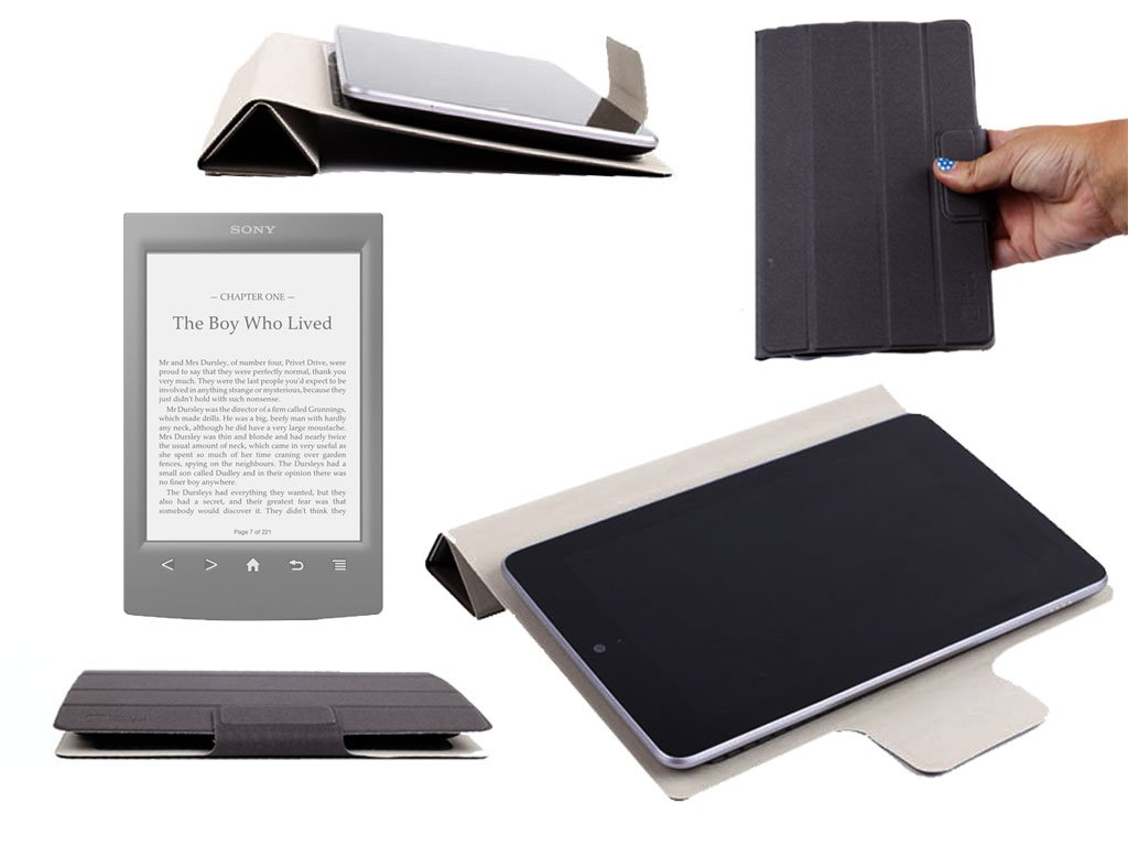 Funda resistente negro, DURAGADGET Smart Cover para ereader Sony ...