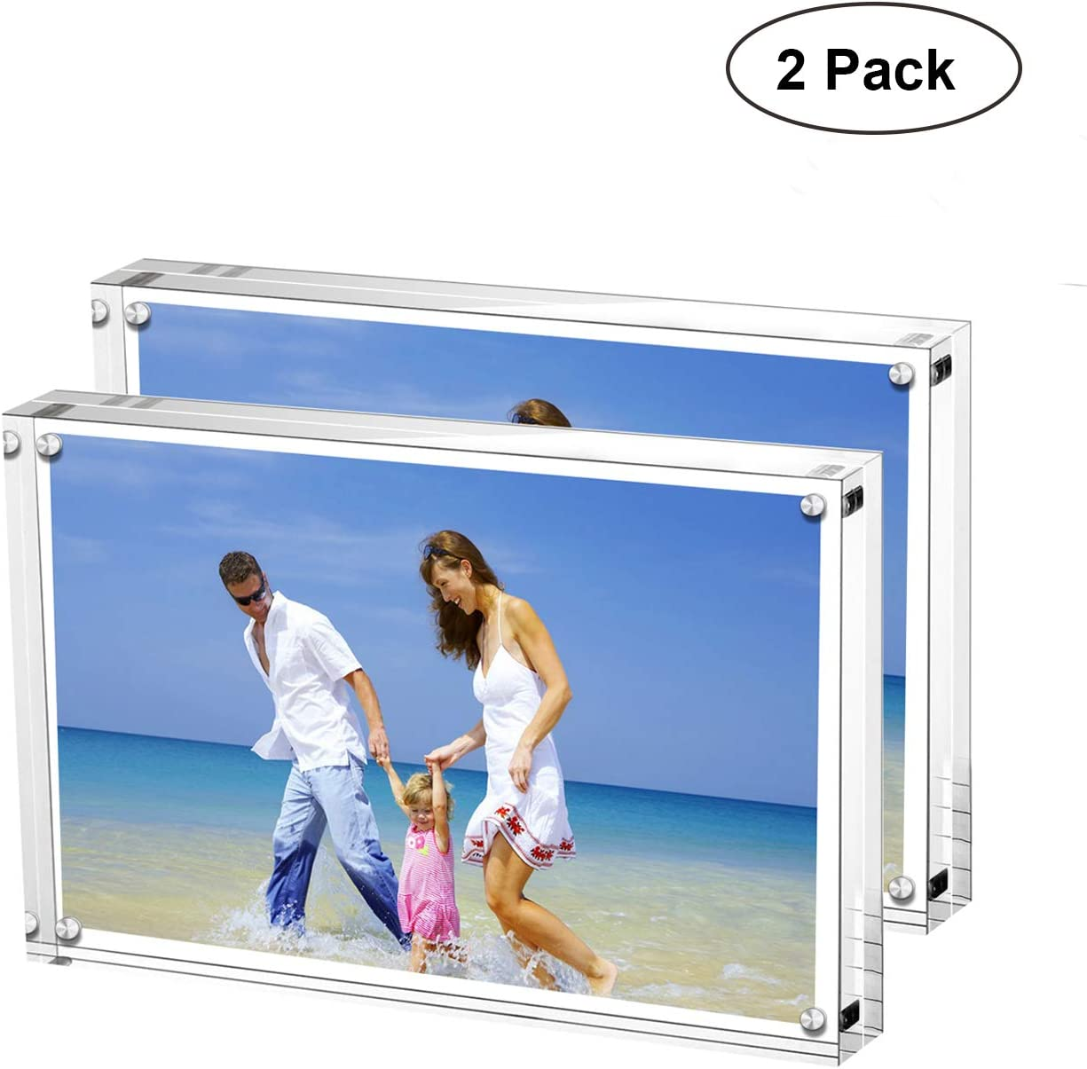 AmeiTech Acrylic Photo Frames,3.5x5'' Double Sided Magnetic Picture Frame, Desktop Frameless Postcard Display (2 Pack)