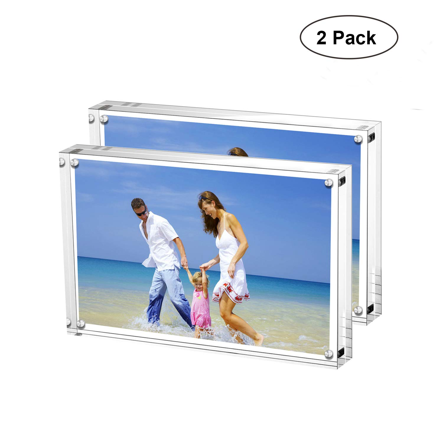 AMEITECH Acrylic Picture Frames, 4x6'' Clear Double Sided Block Set, Desktop Frameless Magnetic Photo Frame (2 Pack) by AMEITECH