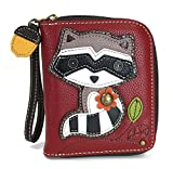 Chala Zip Around Wallet, Wristlet, 8 Credit Card Slots, Sturdy Pu Leather - Raccoon - Burgundy