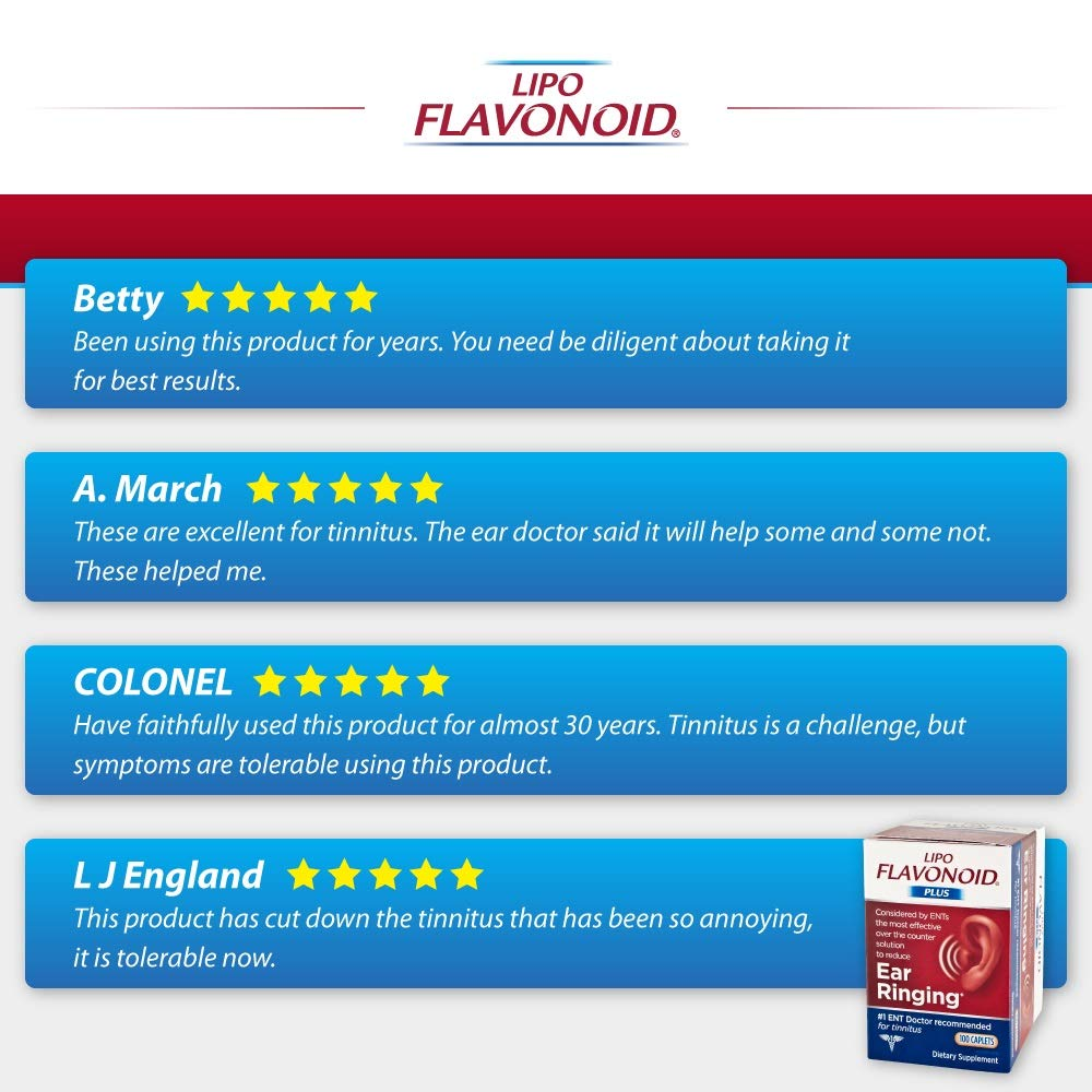 Lipo-Flavonoid Plus Ear Health Supplement | Most Effective Over the Counter Solution to Reduce Ear Ringing| #1 ENT Doctor Recommended for Tinnitus | 500 Caplets by Lipo-Flavonoid (Image #8)