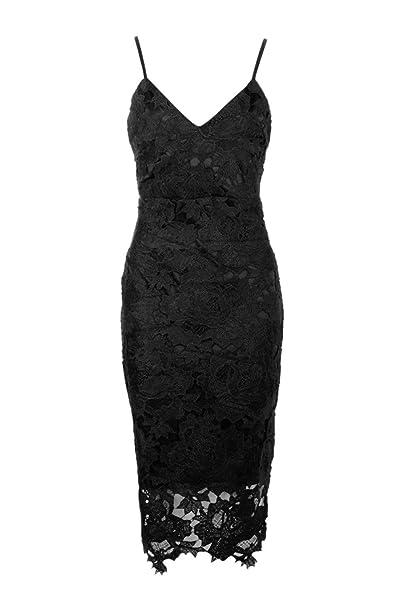 7d4ec793d191 Boohoo Womens Boutique Fi Crochet Lace Strappy Midi Dress in Black size 4