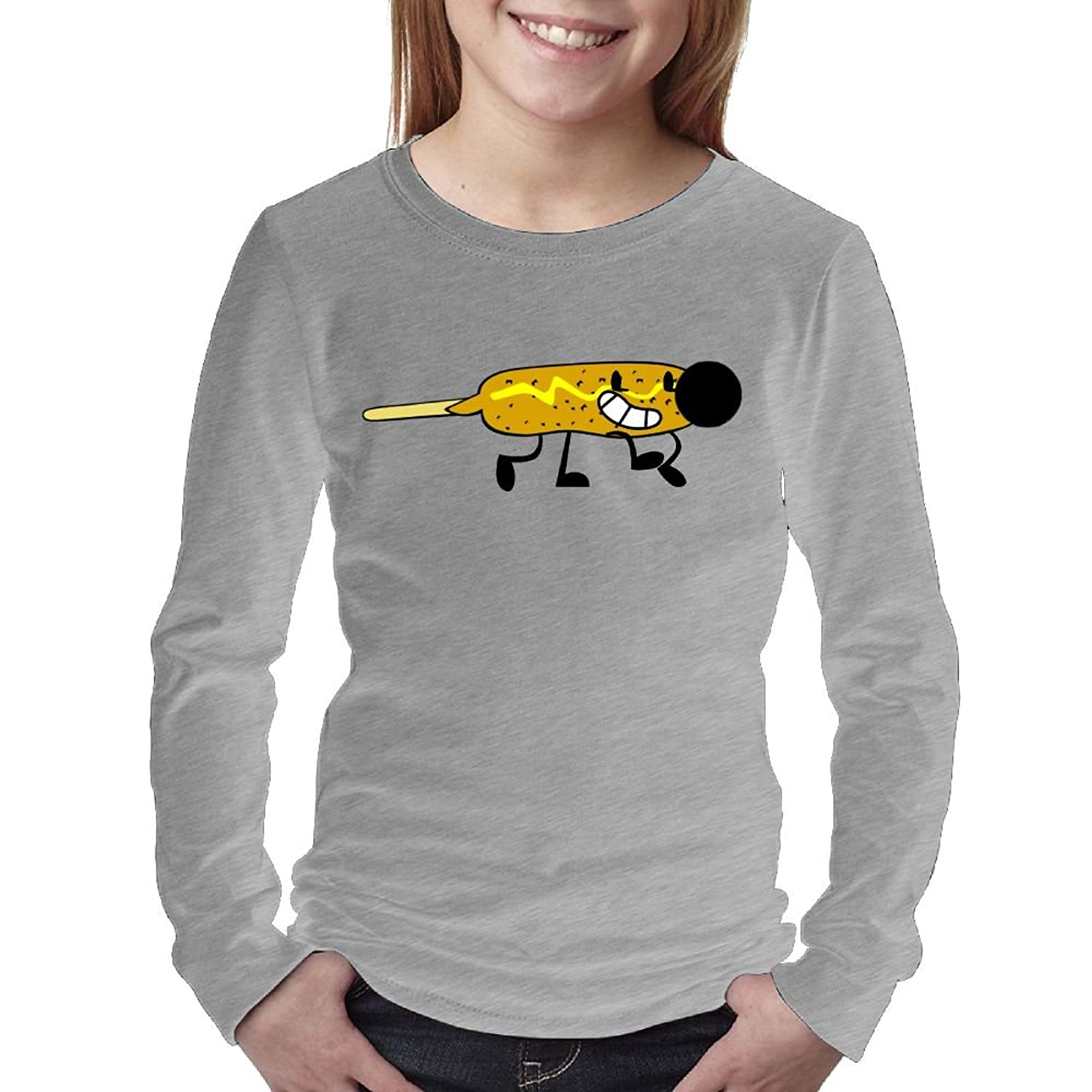 Cheap Corn Dog Sausage Dog Women's Long Sleeve T ShirtTee Round Neck Full 3D Graphic Print T Shirts for Youth Girls Kids Sizes Casual for cheap