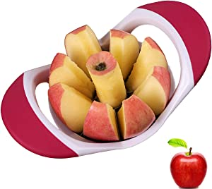 Apple Slicer and Corer,Apple Cutter Tool for 4.17 Inch Big Apple with 430 Grade Stainless Steel,8 Sharp Blades and Easy Grip,Dish-Washer Safe and 100% Rust Resistant from DSafer(Rose Red)