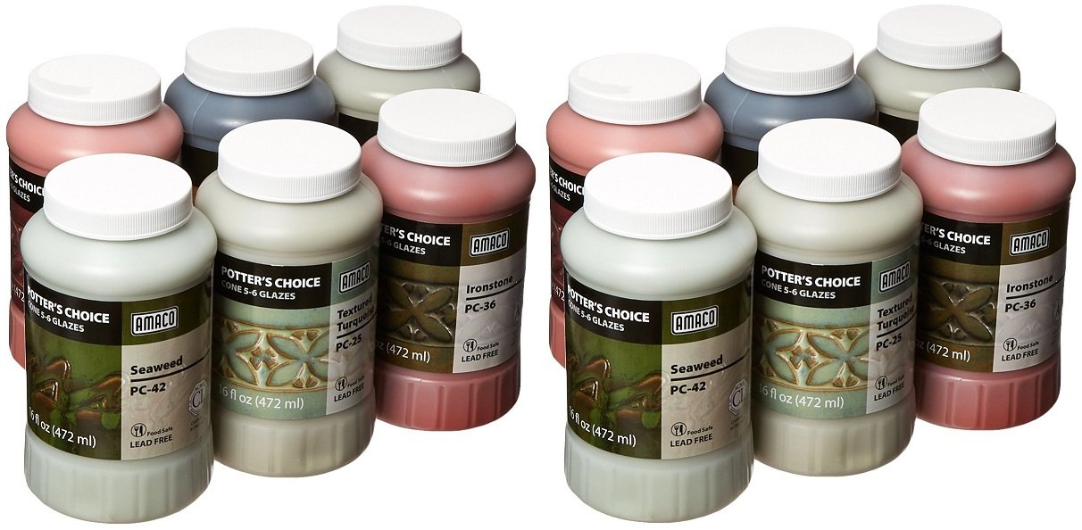 Amaco 39219X Potters Choice Glazes, 1 pint Capacity, Assorted Colors (2 X Pack of 6)