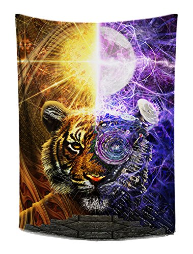 Bionic Tiger Wall Tapestry- Trippy Purple Wall Hanging- Orange Tapestry- Tiger Wall Art- Fractal Design- Large Wall Tapestry 48 x 72 inches