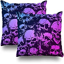 """Suesoso 18""""x18"""" Two Sides Printed Soft Cotton Mess Of Skulls Model 1 Purple Color Throw Pillow Cover Home Decorative Cushion Case Pillow Case sofa bed car living home with hidden zipper (set of 2)"""