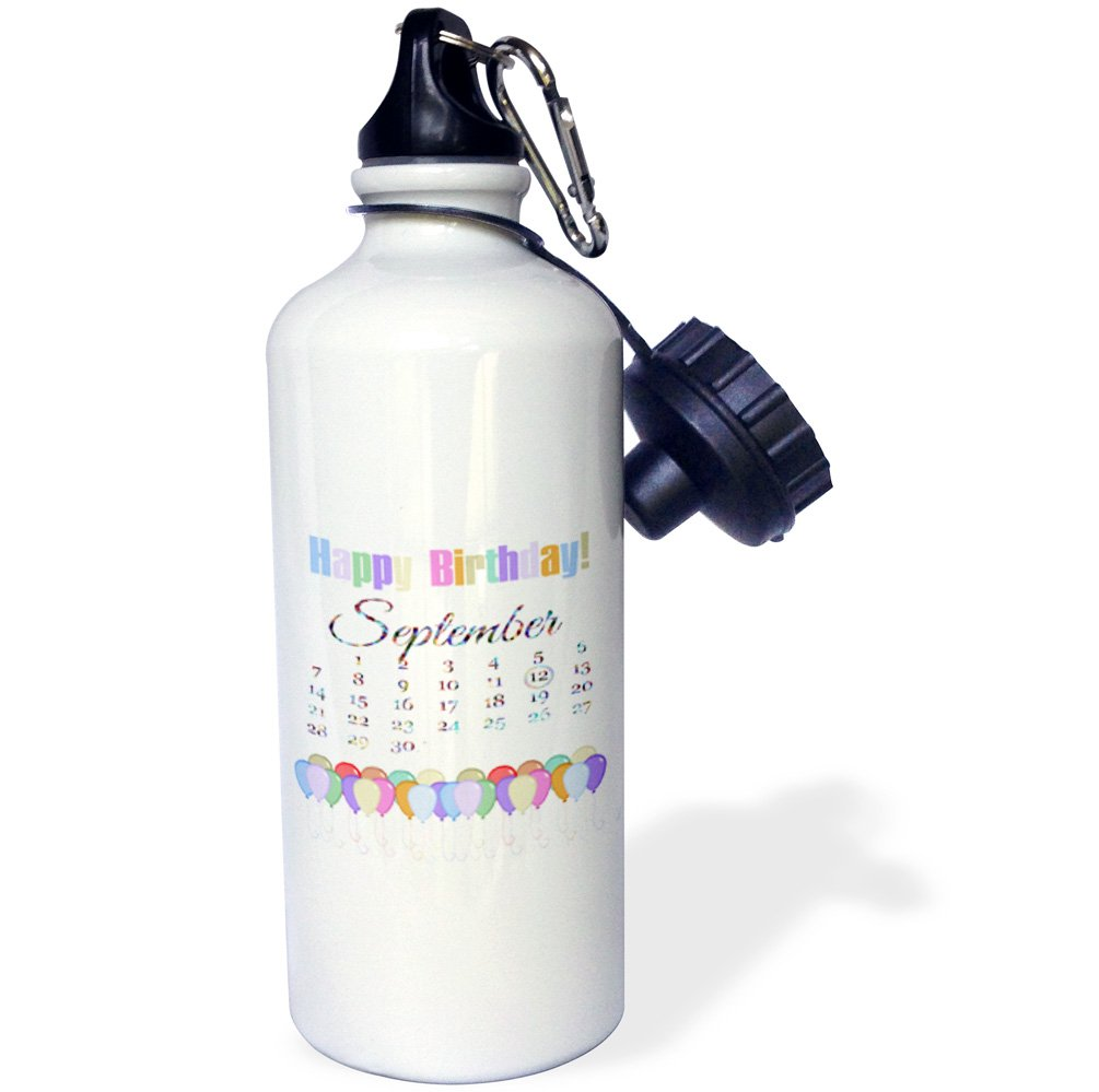 wb/_181539/_1 21 oz Multicolored Colorful Happy Birthday and Balloons-Sports Water Bottle 3dRose September 12th 21oz