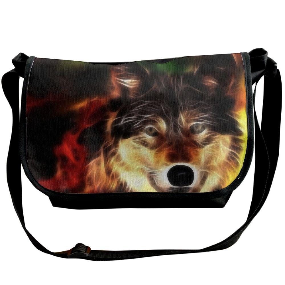 c51839989ddc Unisex Wide Diagonal Shoulder Bag Wolf Face Light Lines Printed Casual  Messenger Travel Crossbody Bag Adjustable