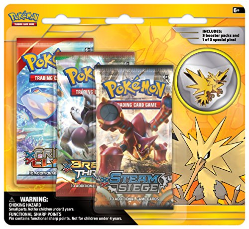 Pokemon TCG: Legendary Birds Blister Pack Containing 3 Booster Packs and Featuring Either A Zapdos, Articuno, Or Moltres Collector's Pin by Pokémon