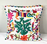 Otomi pillow cover made from hand embroidered Otomi fabric. 'Cactus'