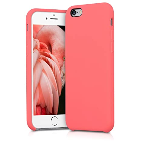 kwmobile Funda compatible con Apple iPhone 6 / 6S - Carcasa de TPU para móvil - Cover trasero en coral neón
