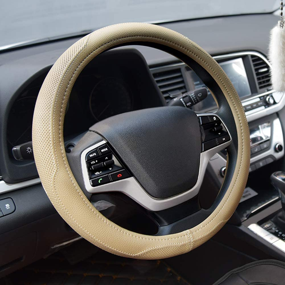 Black Microfiber Leather Auto Car Steering Wheel Cover Universal 15 in Non-Slip
