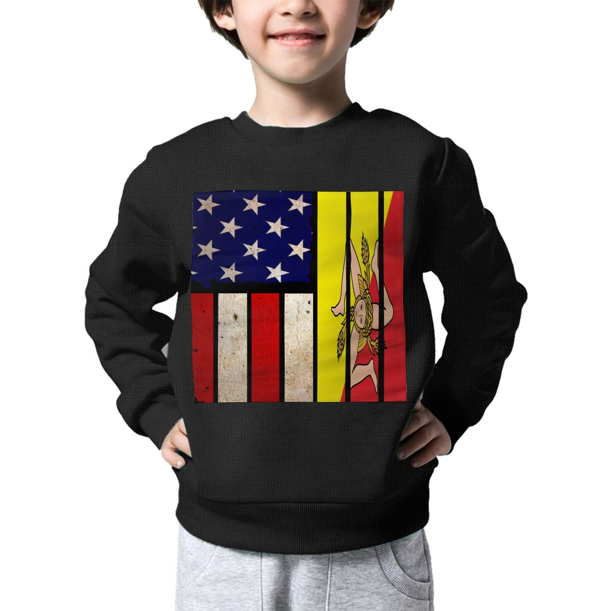 Boys Girls Vintage USA Sicily Flag Lovely Sweaters Soft Warm Childrens Sweater