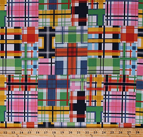 Madras Patch Fabric - Cotton Plaid Squares Colorful Checked Patchwork-Look Madras Patch Summer Cotton Fabric Print by The Yard (DC5609-SUMM-D)