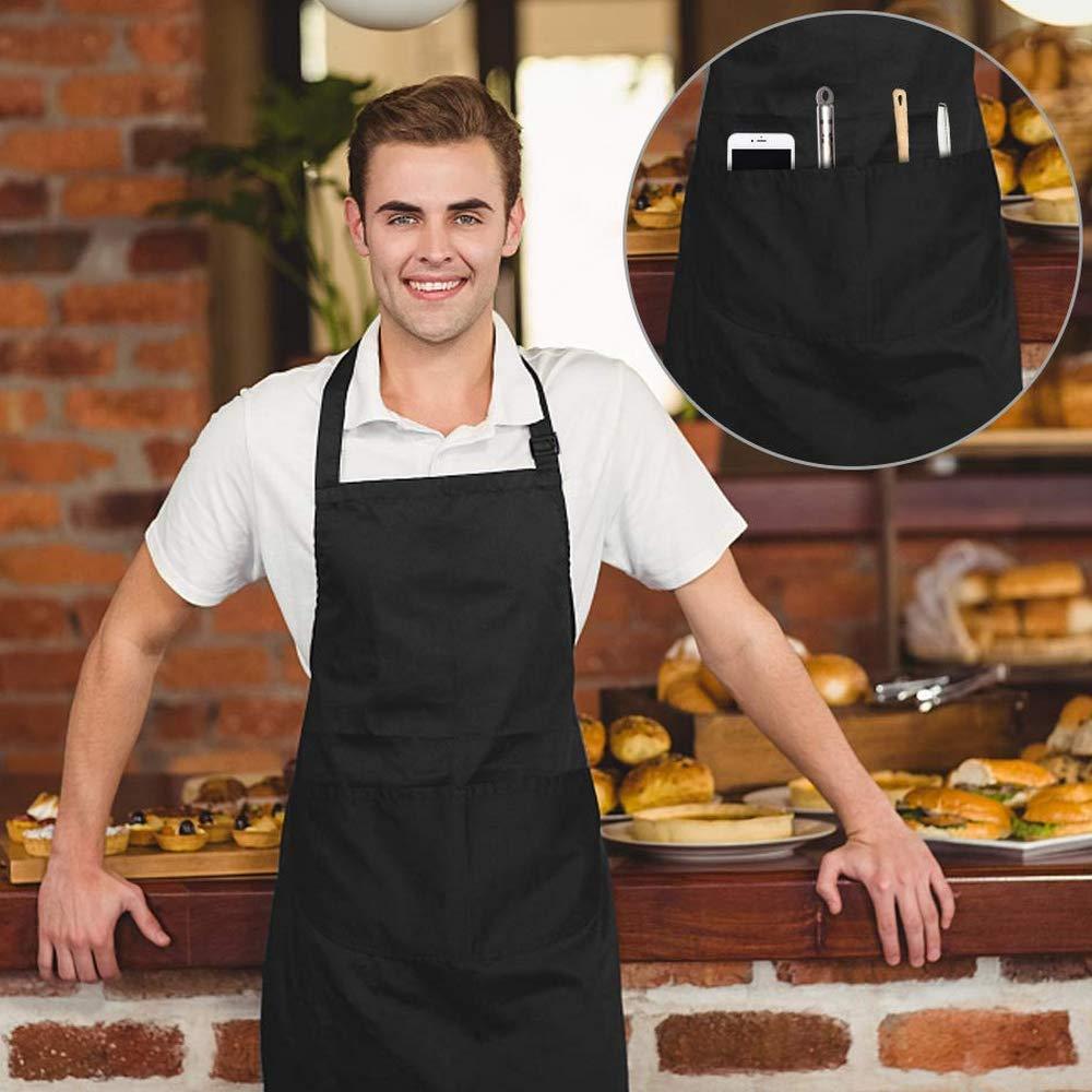 per Cucina Grembiule Regolabile con 2 Tasche casa caffetteria Giardino FANSIR 100/% Cotone Chef Confezione da 2 Red Ristorante Barbecue