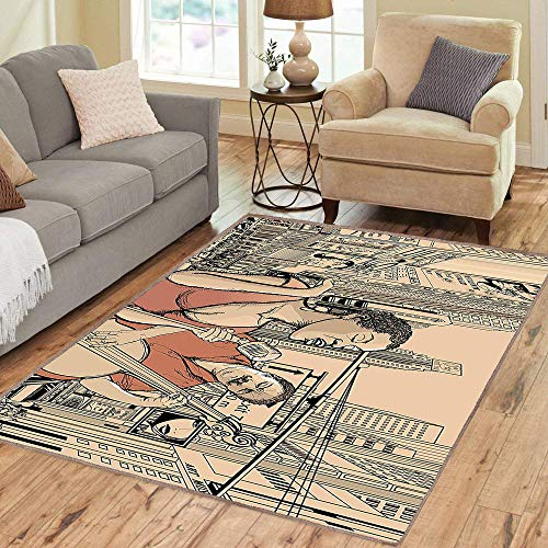 - Rug,Floor Mat Rug,Jazz Music an Jazz Singer with Double-Bass Player in a Street of New York Urban Lifestyle,Area Rug,Multicolor,Home mat,5'x8'Rubber Non Slip,Indoor/Front Door/Kitchen and Living Room/