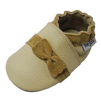 51c376f1a270b Mejale Chaussures Bébé en Cuir Souple - Chaussons Bébé - Chaussures  Premiers Pas avec Le Noeud