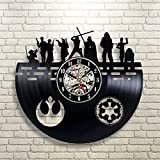 Cheap Dark Side Characters Death Star Star Wars Wall Clock Decor Vintage Black Vinyl Gift Room Wedding Party