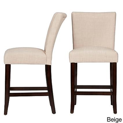 Parson Classic Linen Counter Height Chairs Bar Stools Beige Linen (Set Of 2)