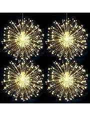 Fajerwerki LED Starburst łańcuch świetlny 120 diod LED do zawieszenia na Boże Narodzenie świecące światełka 8 trybów pracy na baterie z pilotem zdalnego sterowania dekoracja do domu / ogrodu / na wesele / imprezę / święta