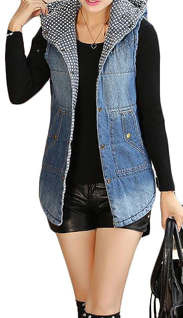 Pandapang Womens Autumn Cotton Warm Slim Hooded Sleeveless Jacket Denim Vest