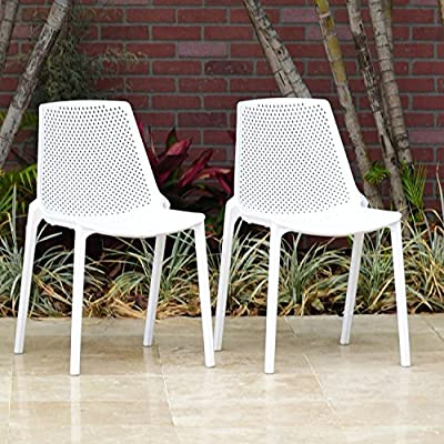 Atlantic Patio Miami Patio Dining Chair, White - Side chair Dimensions: 22L x 18W x 31H Chair Seating Dimensions: 16L x 16W x 18H Chair Color: White Resin Bucket Set Includes: 2 Stacking Sidechairs, chairs stacks for easy storage - patio-furniture, patio-chairs, patio - 61CgBupFvmL. SS400  -