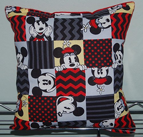 """MICKEY & MINNIE MOUSE Pillow HANDMADE Cotton / Flannel Toddler ,Travel , Daycare Pillow is approximately 10"""" X 11"""