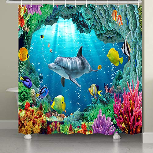 JAWO Undersea Shower Curtain for Bathroom,Cartoon Sea Life Whales Fishes and Color Coral Reefs Fabric Bathroom Curtain Set with Shower Curtain Hooks