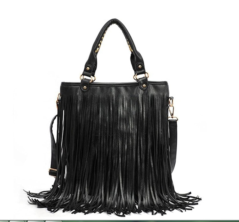 2012-2013 Woman lady or girl Black Leather Punk Tassel Fringe Handbag/ Shoulder Handle /Satchel /Purse/ Hobo Tote bags