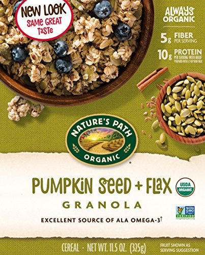 - Nature's Path Organic Gluten-Free Granola Cereal, Pumpkin Seed Plus Flax, 11.5 Ounces, 12 Count