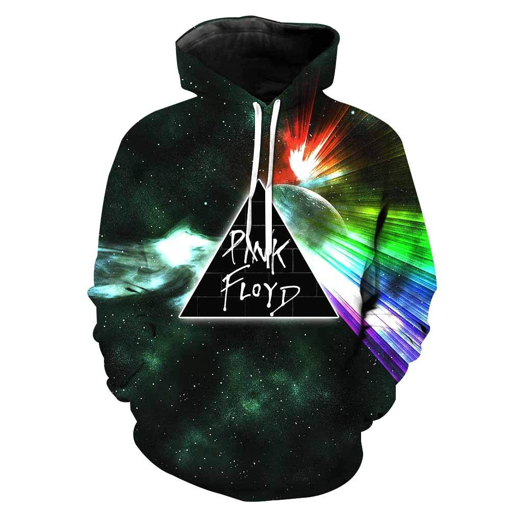 SXELODIE Fashion 3D Hoodies Printed Pink Floyd Hoodie Pullover Graphic Sweatshirts Hooded with Big Pockets Men