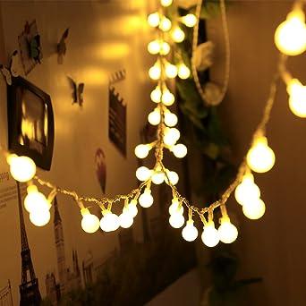 LED Solar Beleuchtung Lichter Kette 2 Stufen Außenbereich Dekoration Glüh Birnen