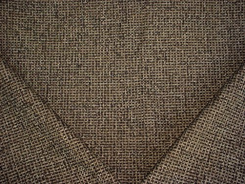 130H12 - Black / Old Gold / White Basketweave Designer Upholstery Drapery Fabric - By the -
