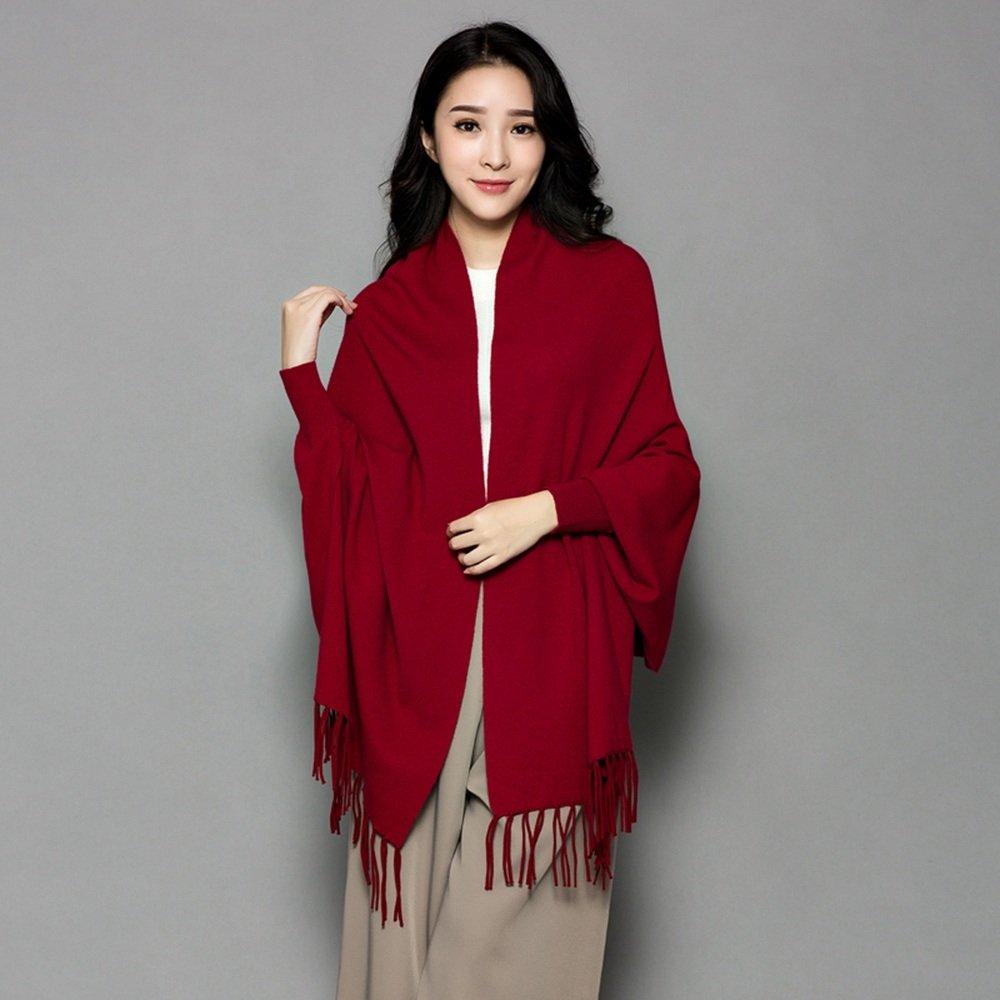 HAIZHEN Elegante de moda Bufanda femenina más gruesa con mangas Capa de oficina Otoño y chal cálido de invierno en 12 colores Suave y cálido ( Color : Vino rojo )