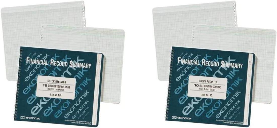 Ekonomik DD Wirebound Form Dd Check Register W//10 Left Distribution Columns 8-3//4X10 2 рack