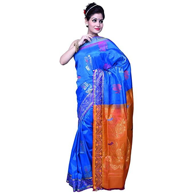 b051ef88d9723 Kajal Blue Contrast Ornate Border Pallu Pure Banarasi Silk Saree   Amazon.in  Clothing   Accessories