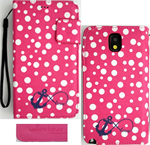 Samsung Galaxy Note 3 N9000 Premium Faux Leather Polka Anchor Infinity Love Wallet Case
