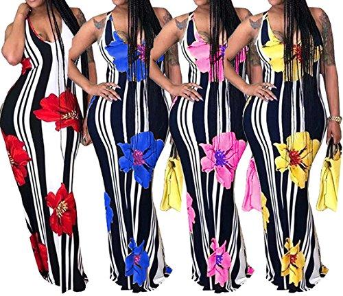 Sommer Lang Kleid Damen Mode Ärmellos Druck Kleider Partykleider Sexy Rückenfrei Kleider Maxikleid Wickelkleider Abendkleider Cocktailkleid Giallo RapI1tb8g